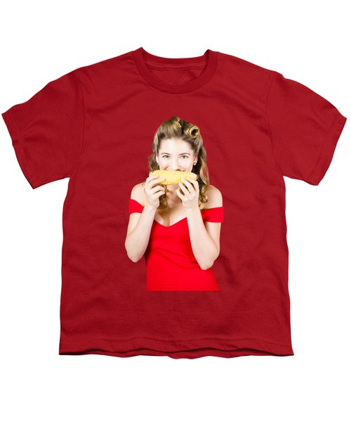 Funny Vegetable Woman With Corn Cob Smile Youth T-Shirt