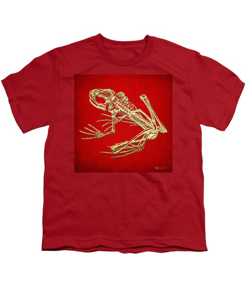 Gold Frog Skeleton On Red Leather Youth T-Shirt