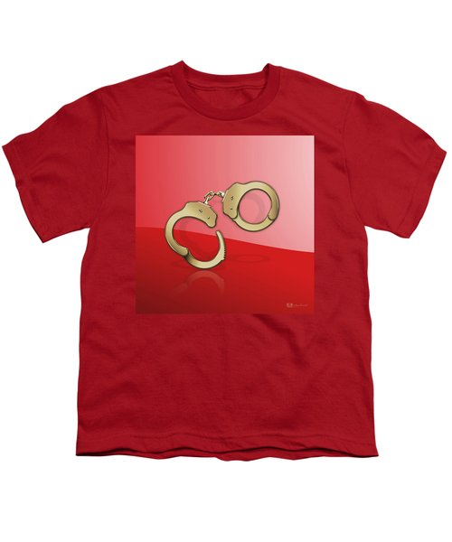 Gold Handcuffs On Red Youth T-Shirt