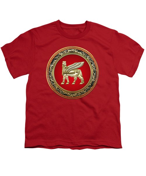 Golden Babylonian Winged Bull  Youth T-Shirt by Serge Averbukh