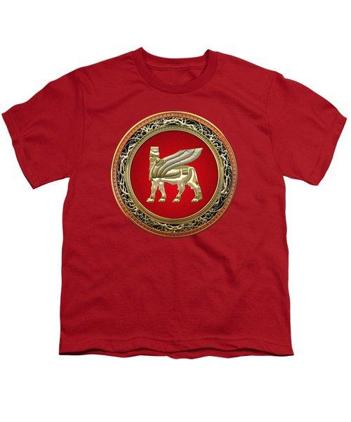Golden Babylonian Winged Bull  Youth T-Shirt