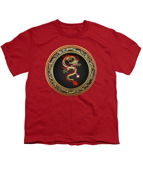 Golden Chinese Dragon Fucanglong Youth T-Shirt by Serge Averbukh