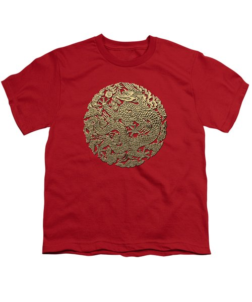 Golden Chinese Dragon On Red Leather Youth T-Shirt