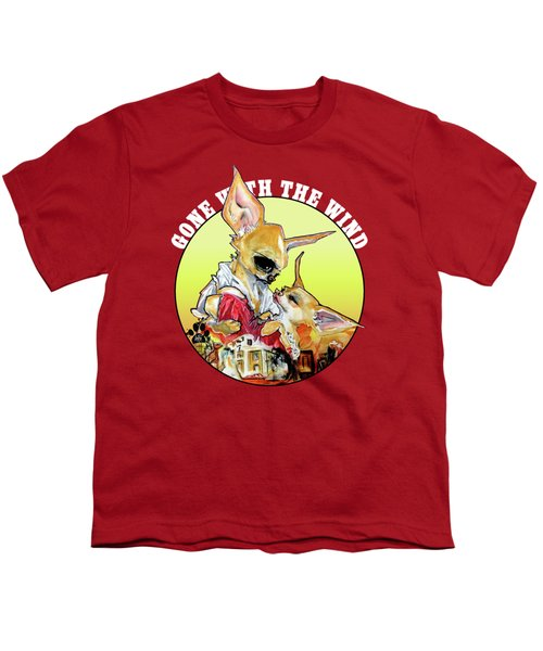 Gone With The Wind Chihuahuas Caricature Art Print Youth T-Shirt