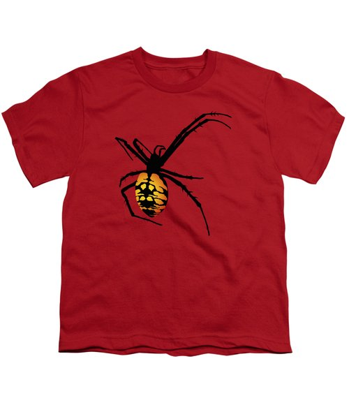 Graphic Spider Black And Yellow Orange Youth T-Shirt by MM Anderson