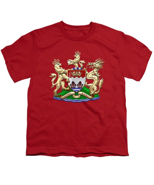 Hong Kong - 1959-1997 Coat Of Arms Over Red Leather  Youth T-Shirt by Serge Averbukh