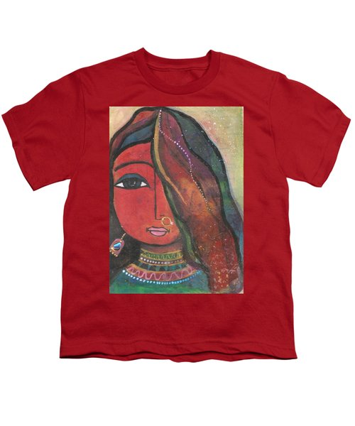 Youth T-Shirt featuring the mixed media Indian Girl With Nose Ring by Prerna Poojara