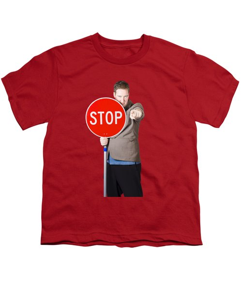 Youth T-Shirt featuring the photograph Isolated Man Holding Red Traffic Stop Sign by Jorgo Photography - Wall Art Gallery