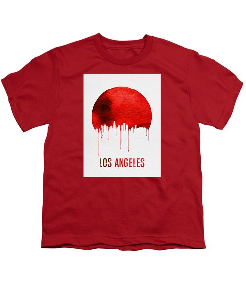Los Angeles Skyline Red Youth T-Shirt by Naxart Studio