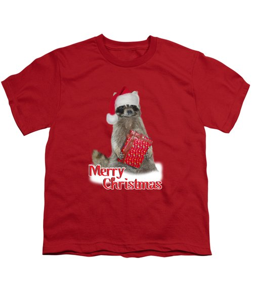 Merry Christmas -  Raccoon Youth T-Shirt by Gravityx9 Designs