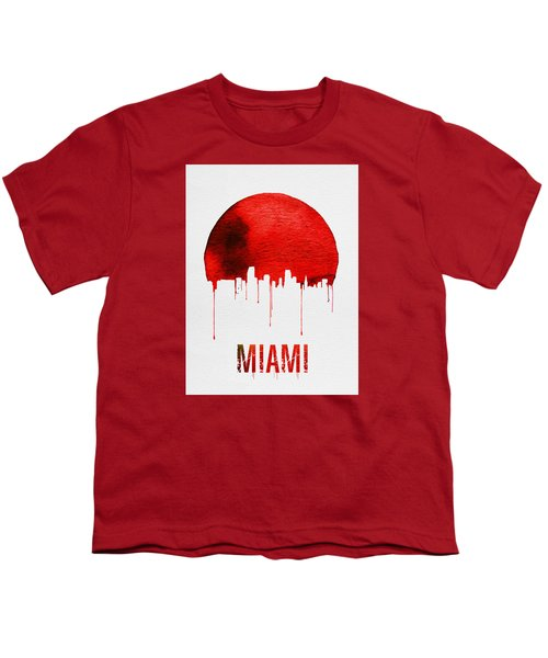 Miami Skyline Red Youth T-Shirt by Naxart Studio