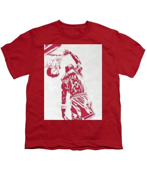 Michael Jordan Chicago Bulls Pixel Art 1 Youth T-Shirt by Joe Hamilton