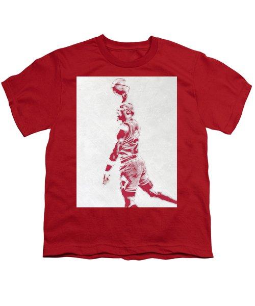 Michael Jordan Chicago Bulls Pixel Art 3 Youth T-Shirt by Joe Hamilton
