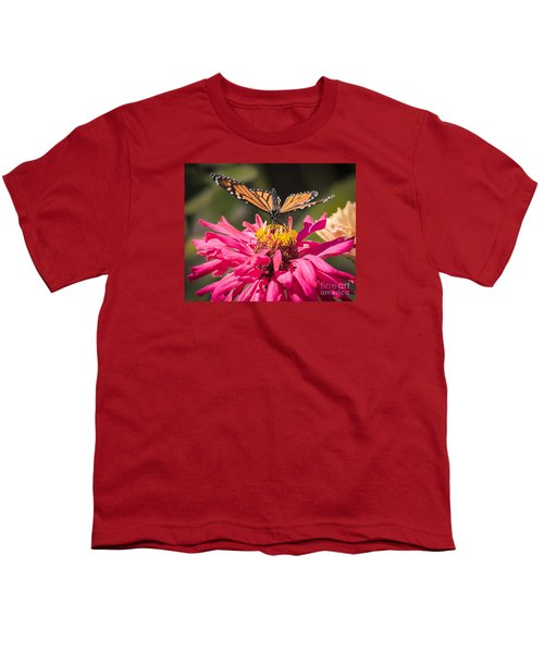 Youth T-Shirt featuring the photograph Monarch On The Last Days Of Summer by Ricky L Jones