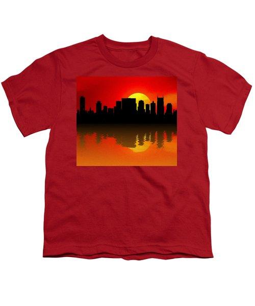 Nashville Skyline Sunset Reflection Youth T-Shirt by Dan Sproul