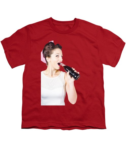 Old-fashion Pop Art Girl Drinking From Soda Bottle Youth T-Shirt