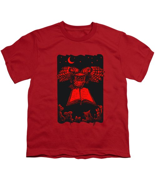 Owl And Friends Redblack Youth T-Shirt
