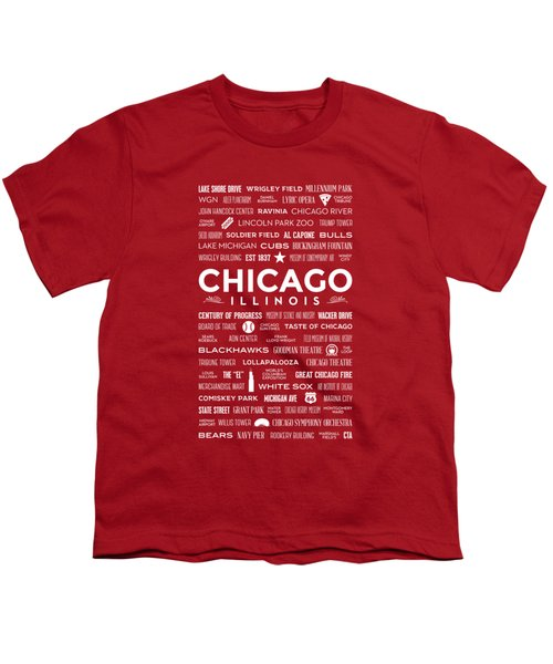 Places Of Chicago On Red Chalkboard Youth T-Shirt by Christopher Arndt