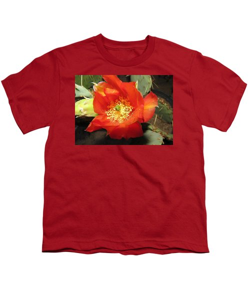 Red Bloom 1 - Prickly Pear Cactus Youth T-Shirt