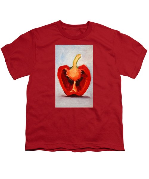 Youth T-Shirt featuring the painting Red Pepper Sliced by Nancy Merkle
