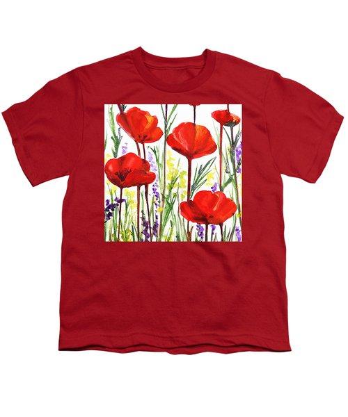 Youth T-Shirt featuring the painting Red Poppies Watercolor By Irina Sztukowski by Irina Sztukowski