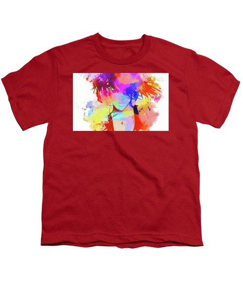 Rihanna Paint Splatter Youth T-Shirt by Dan Sproul