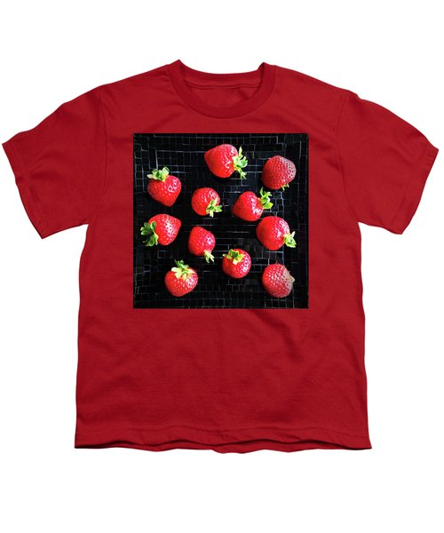 Ripe Strawberries On Back Plate Youth T-Shirt