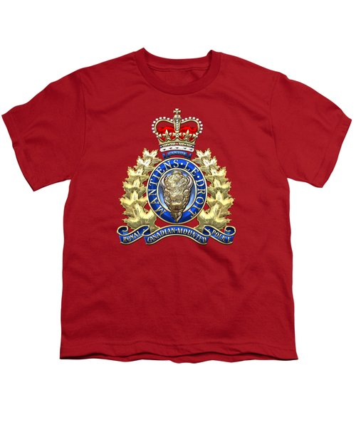 Royal Canadian Mounted Police - Rcmp Badge On Red Leather Youth T-Shirt by Serge Averbukh
