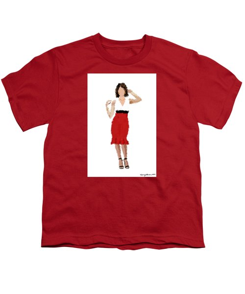 Youth T-Shirt featuring the digital art Ruby by Nancy Levan