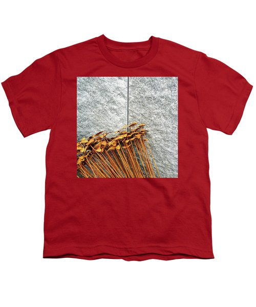 Rusty Iron Flowers On Granite Background Youth T-Shirt