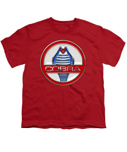 Shelby Ac Cobra - Original 3d Badge On Red Youth T-Shirt