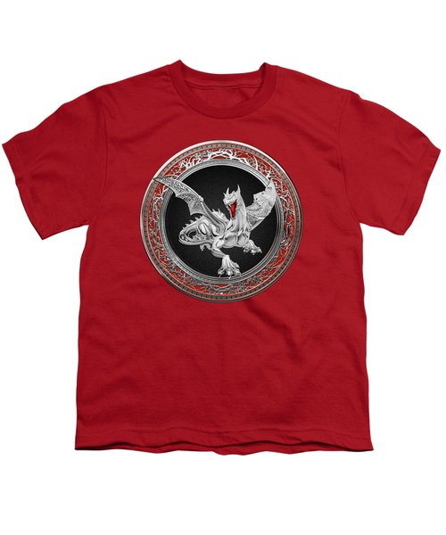 Silver Guardian Dragon Over Red Velvet  Youth T-Shirt by Serge Averbukh