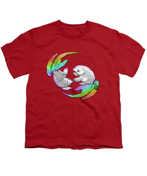 Silver Japanese Koi Goldfish Over Red Canvas Youth T-Shirt