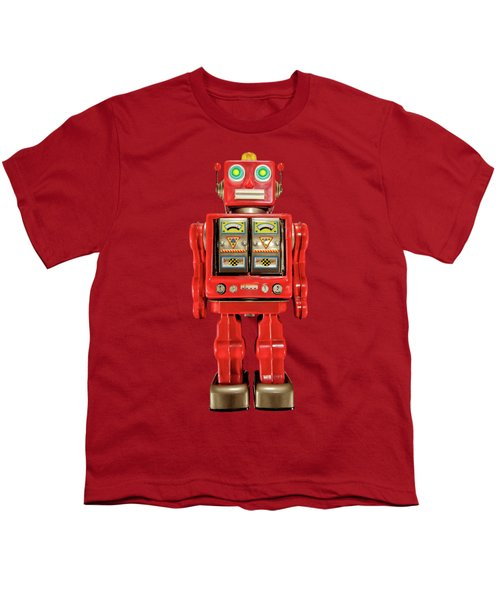 Star Strider Robot Red On Black Youth T-Shirt by YoPedro