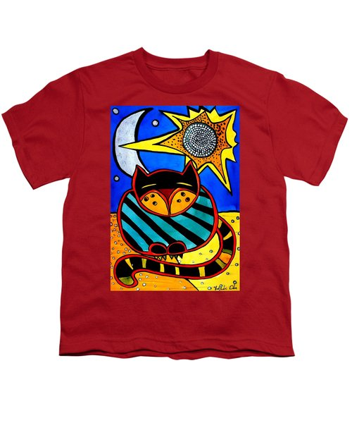 Youth T-Shirt featuring the painting Sun And Moon - Honourable Cat - Art By Dora Hathazi Mendes by Dora Hathazi Mendes
