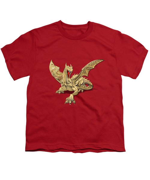 The Great Dragon Spirits - Golden Guardian Dragon On Red And Black Canvas Youth T-Shirt