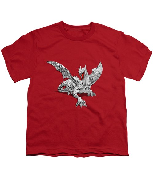 The Great Dragon Spirits - Silver Guardian Dragon On Black And Red Canvas Youth T-Shirt by Serge Averbukh