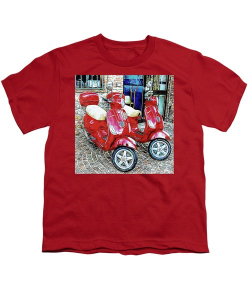 Vespa Twins Red Youth T-Shirt