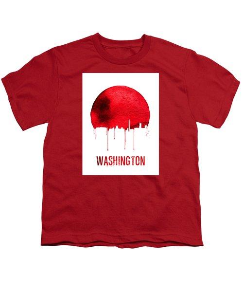 Washington Skyline Red Youth T-Shirt by Naxart Studio
