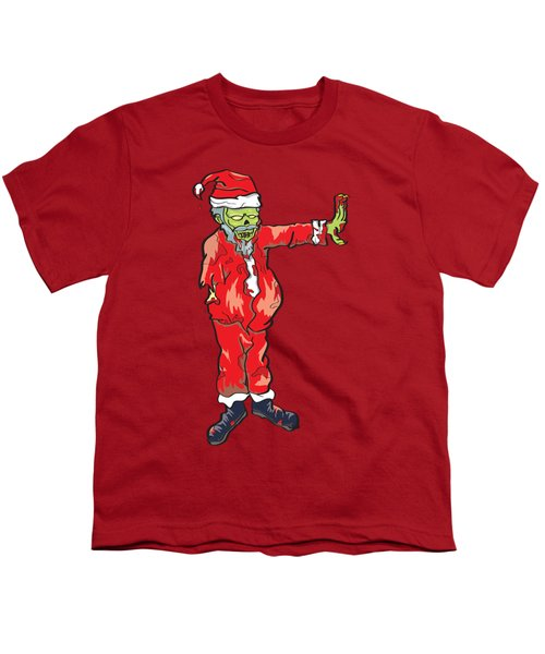 Youth T-Shirt featuring the drawing Zombie Santa Claus Illustration by Jorgo Photography - Wall Art Gallery