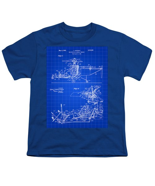 Helicopter Patent 1940 - Blue Youth T-Shirt