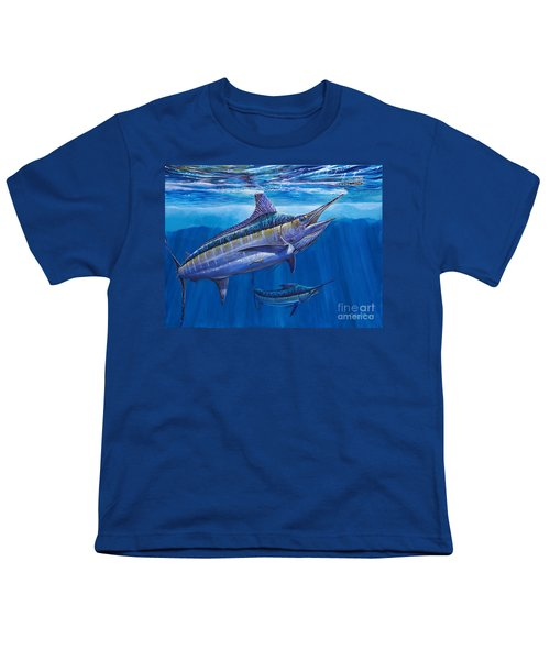 Blue Marlin Bite Off001 Youth T-Shirt by Carey Chen