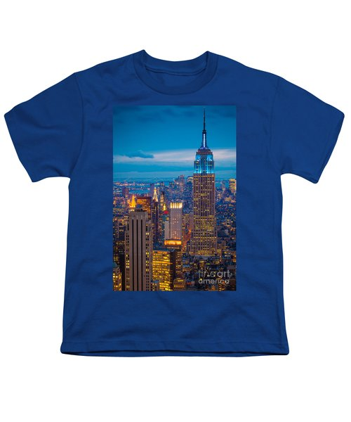 Empire State Blue Night Youth T-Shirt by Inge Johnsson