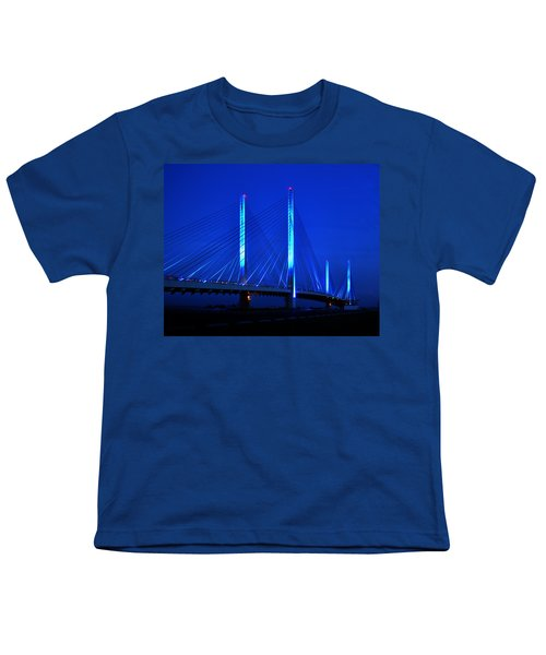 Indian River Bridge At Night Youth T-Shirt