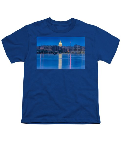 Youth T-Shirt featuring the photograph Wisconsin Capitol Reflection by Sebastian Musial