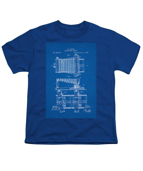 1897 Camera Us Patent Invention Drawing - Blueprint Youth T-Shirt