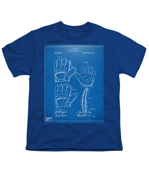 1910 Baseball Glove Patent Artwork Blueprint Youth T-Shirt