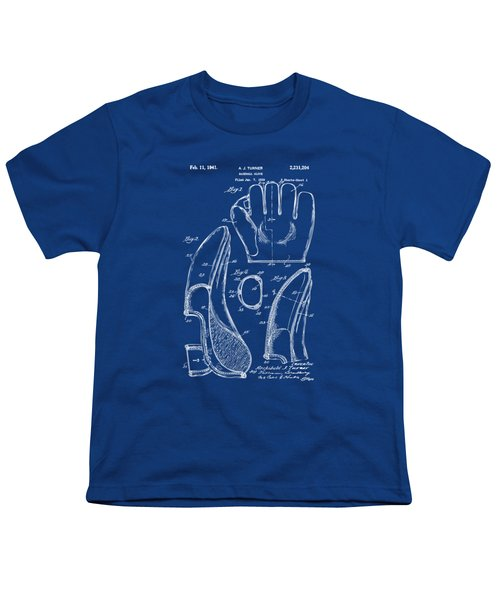 1941 Baseball Glove Patent - Blueprint Youth T-Shirt by Nikki Marie Smith