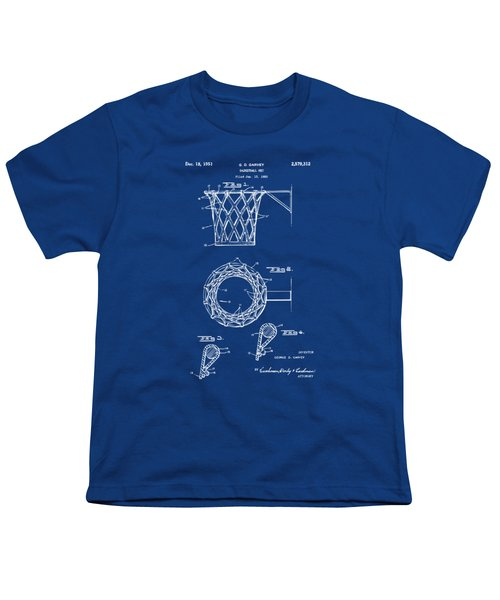 1951 Basketball Net Patent Artwork - Blueprint Youth T-Shirt by Nikki Marie Smith