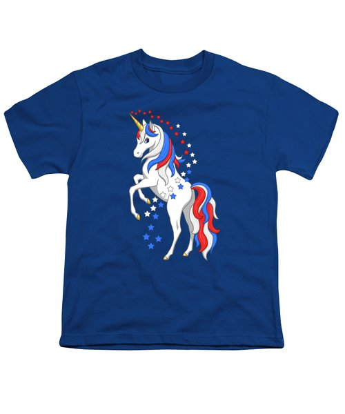American Flag Patriotic Unicorn Youth T-Shirt